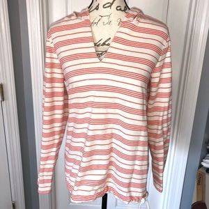 LL Bean Hoodie M Pull Over Vneck Top 100% Cotton